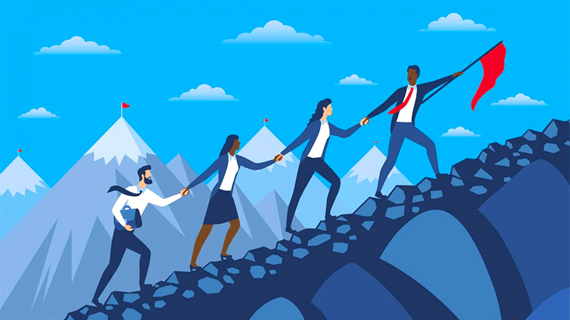 An illustration of 4 people climbing a mountain. The lead person is pointing a red flag forward.