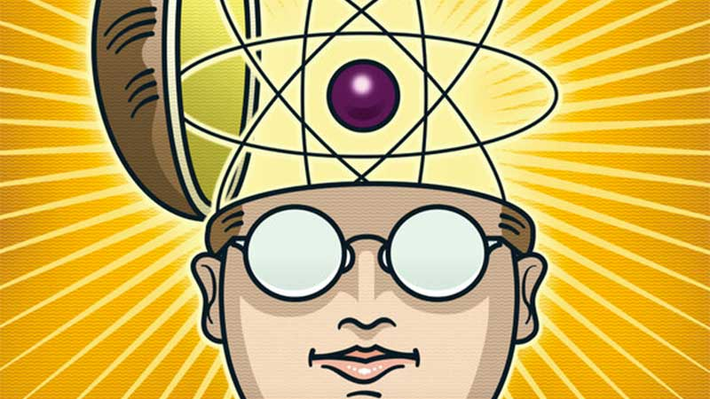 Illustration of a spectacled face with the skull-capped brain opening to release a giant atom which is radiating light beams.
