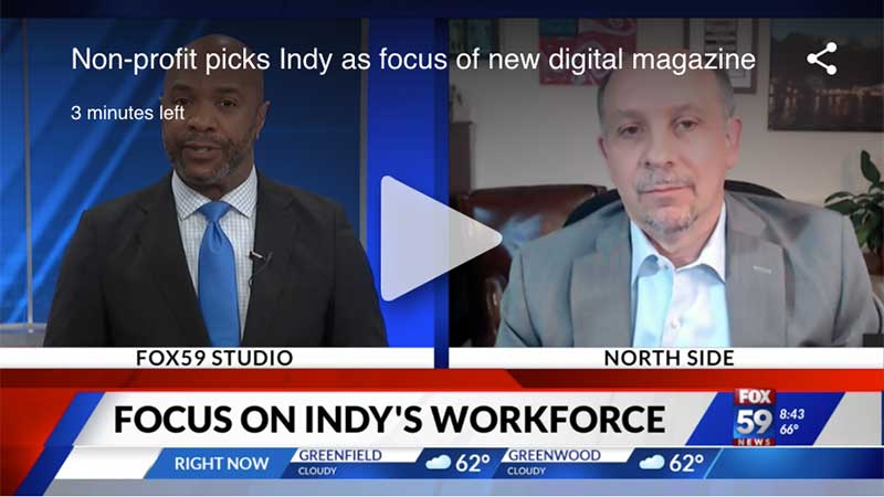 Capture from news broadcast shows Jamie Merisotis in split screen with Fox 59 news host.