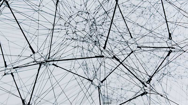 Abstract view of mechanical web of interconnectedness.